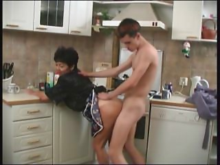 Mama and her lad in the kitchen! Russian Amateur!