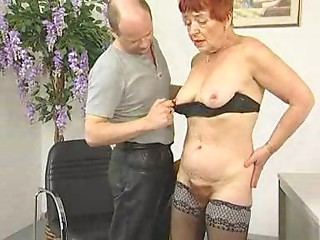 Deliciously Hirsute Grandmother Sucks and Bonks