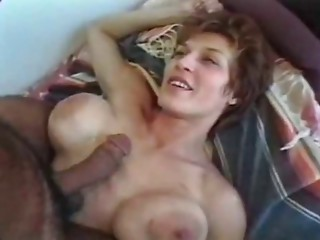 MILF with large breasts and a-hole receives screwed by large dongs