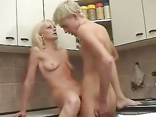 Golden-haired Russian Old Mama and guy
