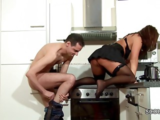 Step-Son Entice MILF Mommy to Screw and Cum on Nylons
