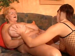 Bigtitted Lesbo Old bitch and her Youthful Gal