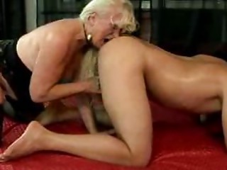 Blonde Grandmother And Juvenile Guy