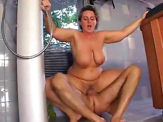 fine mamma with saggy mangos hard-fucks the pool