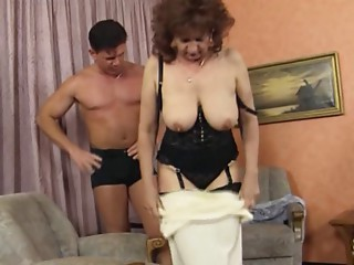 Old slut in Nylons and Basque Bonks
