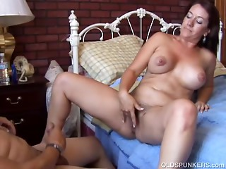 Marvelous big breasted brunette hair Cougar is a sexy screw