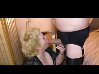 Hose Grandmother Ties Up Transsexual Knob