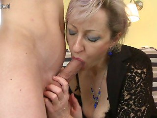Lascivious older mommy drilled by youthful guy