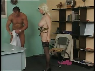 Bigtitted German Elder Fucking in Office