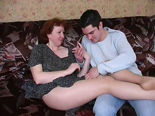 Russian mommy in hose and her boy! Amateur!