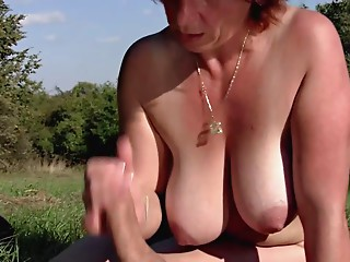 Brunette hair BBW-Milf Outdoors by Youthful Dude