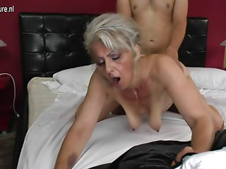 Curly grandma hard screwed by youthful paramour