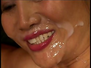 Oriental receives her wazoo drilled and receives a facial