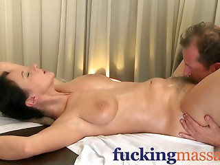Massage Rooms Older woman with bushy cookie given big O