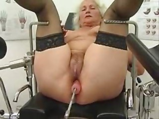 Old slut Norma Works out on a Sex Machine