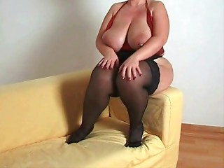 Bigtitted big beautiful woman cougar in nylons