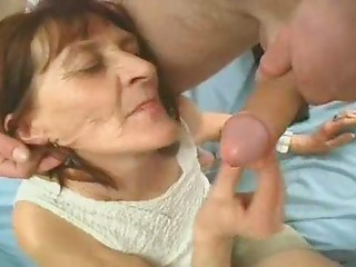 Wrinkly Old bitch Plays with a Pecker