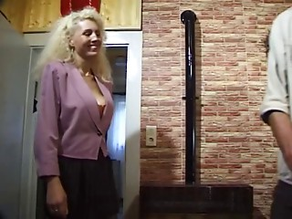 German Cougar with large natural breasts takes it hard in her butt