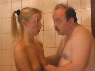 Chunky older men with golden-haired young slut