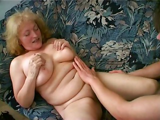 Chunky Grandmother Loves Cum Oozing from her Chin