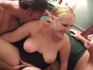 Non-professional MMF Bisexual 3some - Blonde BBW
