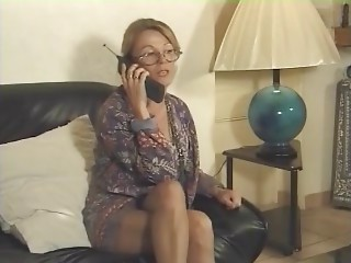 MILF in Hose and Glasses Sucks and Bonks