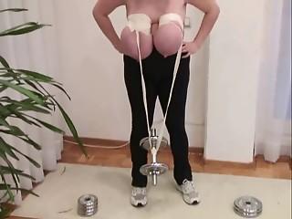 Weight Lifting With Big Saggy Billibongs