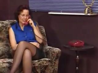 German Cougar in nylons tricks her aerobics teacher to shag