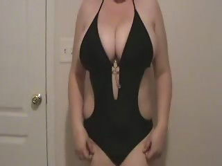 Lateshay darksome swim dress undress tease whilst my camerman strokes