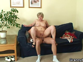 Lonely grandmother sucks and rides his sexually excited pecker