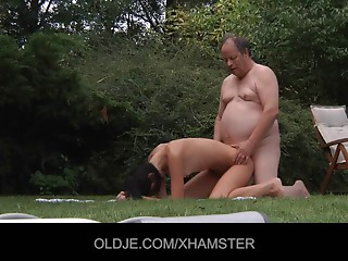 Granddad acquires drilled by a catchy nympho young slut