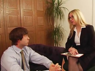 Posh Office Mistresse has sex with her serf