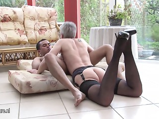 Excited older whore mamma fucking a younger man