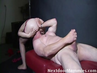 Mature chap sucked by an mature bigtitted woman
