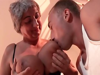 Greater Breasted Old slut in Fishnets Copulates