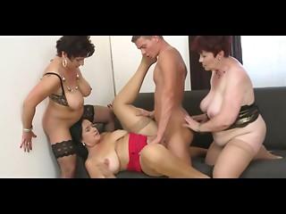 3 bbw elder woman with massive breasts copulates man