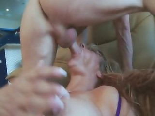 Lascivious mommy getting dicked over sofa