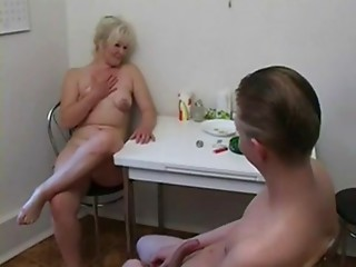 Aged woman and stud
