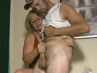 Aged wife jerking his nephew