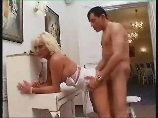 Girl Blond Old slut Anal invasion