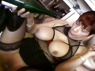 French milf in black lingerie doing some nasty things