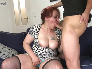 Wicked old slut fucking her youthful chap
