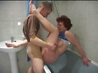 Russian elder mommy and  boy! Amateur!
