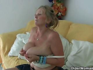 Grandma with large mambos masturbates and receives finger screwed