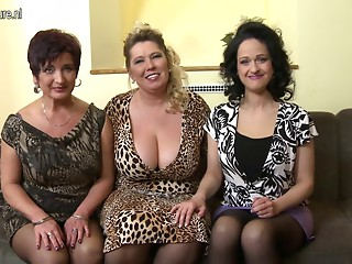 3 breasty mamas fucking and engulfing in POV style