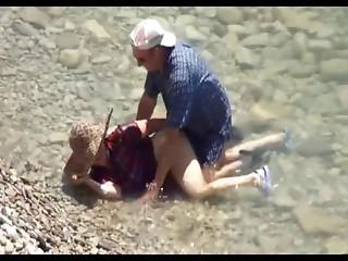 Elder Pair Beach Sex Hidden Webcam