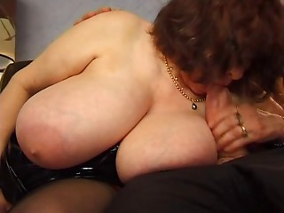 BBW aged with biggest saggy breasts fucking