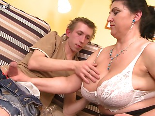 Breasty hirsute mamma receives drilled hard and squirts