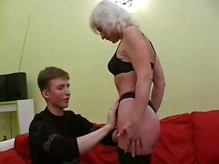 Silver Haired MILF in Nylons Copulates