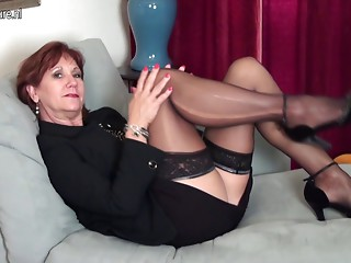 American old Mamma undresses 1st and plays with her toy